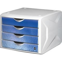 Zásuvkový box Chameleon, 4 zásuvky, bílo-modrá, plast, HELIT