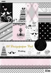 Vzorovaný karton Scrapbooking, A4, svatební motiv ,balení 24 ks