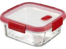 Dóza na potraviny Smart Cook, červená, 0,7 l, hranatá, skleněná, CURVER