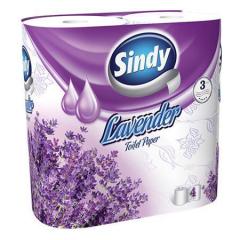 Toaletní papír Sindy, levandule, 3 vrstvý, 4 role v balení