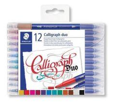Kaligrafické popisovače Calligraph Duo, sada, 12 barev, 2,0/3,5 mm, oboustranné, STAEDTLER