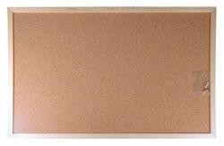 Korková tabule, oboustranná, 60x90cm, dřevěný rám, VICTORIA