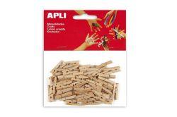 Mini kolíčky, dřevěné, přírodní, APLI ,balení 45 ks