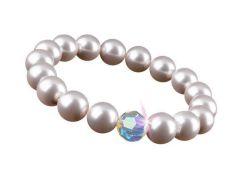 Náramek s perlami SWAROVSKI® , perleťová bílá, velikost M, ART CRYSTELLA