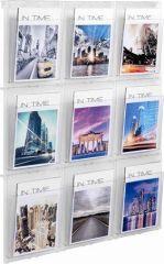 Držák na katalogy, nástěnný, A4, 9 oddílů, HELIT Placativ, trasparentní