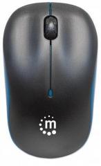 Myš, bezdrátová, optická, střední vel., MANHATTAN Succes, černá-modrá