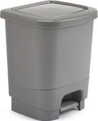 Odpadkový koš, stříbrná, pedálový, 8 litrů, plast, WHITEFURZE
