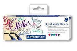 Kaligrafický popisovač, sada, 2 hroty, 5 různých barev