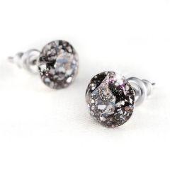Náušnice SWAROVSKI® Crystals, černá s bílou, 8 mm, ART CRYSTELA