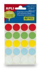 Etikety, různé barvy, 19 mm kruhové, 100 etiket/balení, APLI ,balení 5 ks