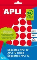 Etikety, kruhové, červená, průměr 16mm, na ruční popis, 432 ks/bal., APLI ,balení 8 ks