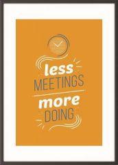 Motivační obraz Less meetings more doing, A4, černý rám, PAPERFLOW