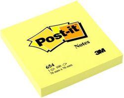 Samolepicí bloček, žlutá, 76x76 mm, 100 listů, 3M POSTIT ,balení 100 ks