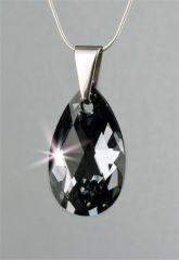 Náhrdelník, SWAROVSKI® Crystals, černý diamant, tvar kapky, 16 mm, ART CRYSTELLA