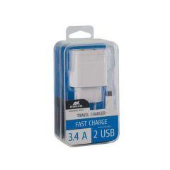 Nabíječka VA 4123 WD1, bílá, 2 x USB,  3,4A, datový kabel micro USB, RIVACASE