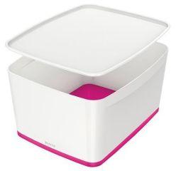 Úložný box s víkem MyBox, bílá-růžová, velký, LEITZ