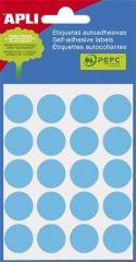 Etikety, modré, kruhové, průměr 19 mm, 100 etiket/balení, APLI ,balení 5 ks