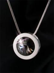 Náhrdelník, SWAROVSKI® Crystals, černý diamant,  postříbřený, 14 mm, ART CRYSTELLA