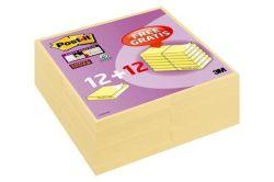 Samolepicí bloček, žlutá, 76x76 mm, 90 listů, 12+12 bločků, 3M POSTIT ,balení 2160 ks