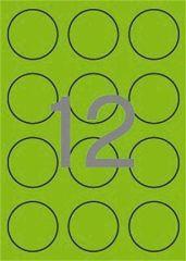 Etikety, kruhové, fluorescentní zelená, průměr 60mm, 240 ks/bal., APLI ,balení 20 ks