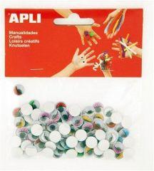 Samolepící pohyblivé oči Creative, mix barev, ovál, APLI ,balení 100 ks