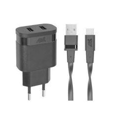 Síťová nabíječka PS4123, černá, 2 x USB, 3,4A, USB-C kabel, RIVACASE