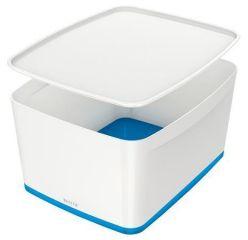 Úložný box s víkem MyBox, bílo-modrá, velký, LEITZ