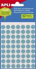 Etikety, modré, kruhové, průměr 8 mm, 288 etiket/balení, APLI ,balení 3 ks