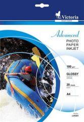 Fotografický papír Advanced, do inkoustové tiskárny, lesklý, A4, 180g, VICTORIA ,balení 20 ks