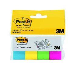 Samolepicí záložky, mix barev, 20x38 mm, 4x50 listů, 3M POSTIT ,balení 200 ks