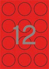 Etikety, kruhové, fluorescentní červená, průměr 60mm, 240 ks/bal., APLI ,balení 20 ks