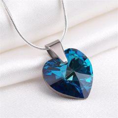 Náhrdelník, SWAROVSKI® Crystals, tmavě modrá, tvar srdce, ART CRYSTELLA