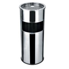 Odpadkový koš s popelníkem, kovový, inox, 28l, 25x58cm
