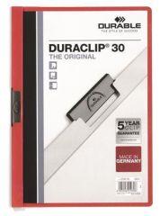 Desky s rychlovazačem DURACLIP® 30, červená, s klipem, A4, DURABLE