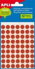 Etikety, červené, kruhové, průměr 10 mm, 315 etiket/balení, APLI ,balení 5 ks