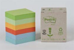 Samolepicí bloček, mix pastelových barev, 38x51 mm, 6x100 listů, recyklovaný, 3M POSTIT ,balení 600 ks