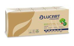 Papírové kapesníky  EcoNatural, přírodní hnědá, 4-vrstvé, 10x9 ks, LUCART ,balení 90 ks