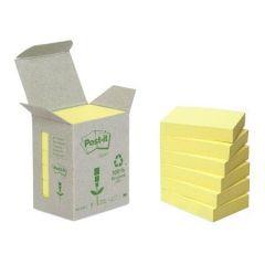 Samolepicí bloček, žlutá, 38x51 mm, 6x100 listů, recyklovaný, 3M POSTIT ,balení 600 ks