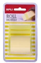 Samolepicí bloček s dávkovačem, pastelová žlutá, 8 m x 5 cm, role, APLI