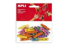 Mini kolíčky, dřevěné, se vzorem, různé barvy, APLI ,balení 20 ks