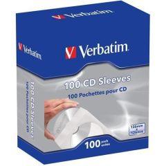 Obálky na CD, papírové, s okénkem, VERBATIM, bílé ,balení 100 ks