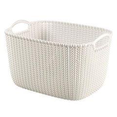 Pletený košík Knit, krémová, velikost L, plast, CURVER