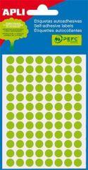 Etikety, fluorescentní zelené, kruhové, průměr 8 mm, 288 etiket/balení, APLI ,balení 3 ks