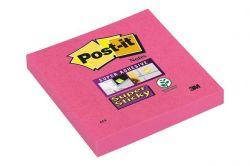 Samolepicí bloček, Super Sticky růžová, 76x76 mm, 90 listů, 3M POSTIT ,balení 90 ks