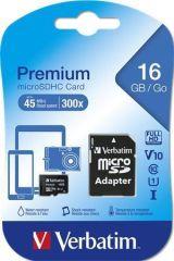 Paměťová karta Premium, microSDHC, 16GB, CL10/U1, 45/10 MB/s, adaptér, VERBATIM