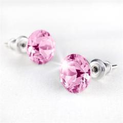 Náušnice SWAROVSKI® Crystals, světle růžová, 8 mm, ART CRYSTELA