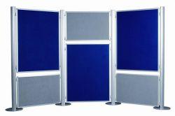 Panel, ke stěnovému systému, oboustranný, textil, šedý/modrý, 60x90cm