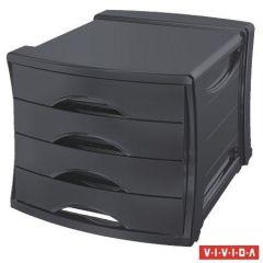 Zásuvkový box Europost, 4 zásuvky, Vivida černá, plast, ESSELTE