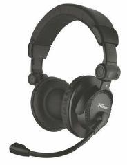 Sluchátka Como, černá, s mikrofonem, drátová, 3,5 mm, TRUST