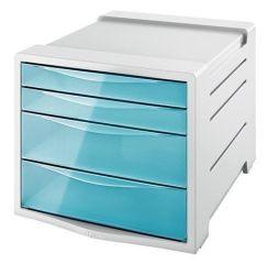 Zásuvkový box Colour` Ice, transparentní modrá, 4 zásuvky, plast, ESSELTE